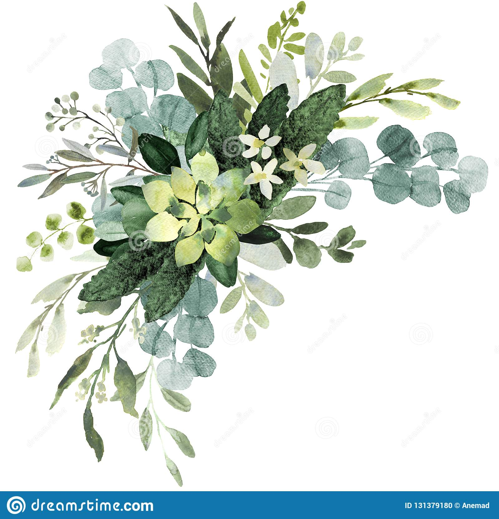 Watercolor Greenery Geometric Gold PNG Eucalyptus Bouquets Frames Clipart Eucalyptus Wedding Invitation