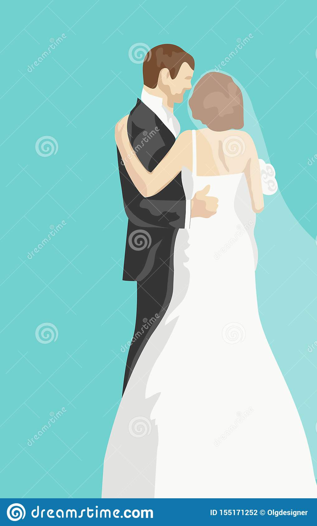 Wedding greeting card with bride and groom