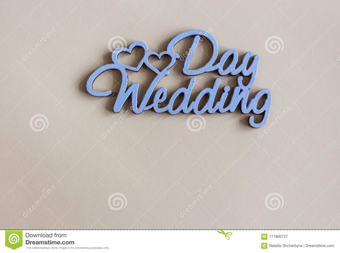 wedding greeting card with copy space words wedding day and hearts