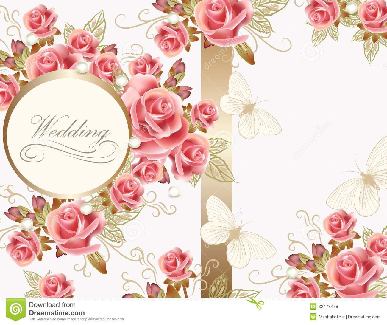 Wedding vector greeting card with pink roses in vintage style for ...