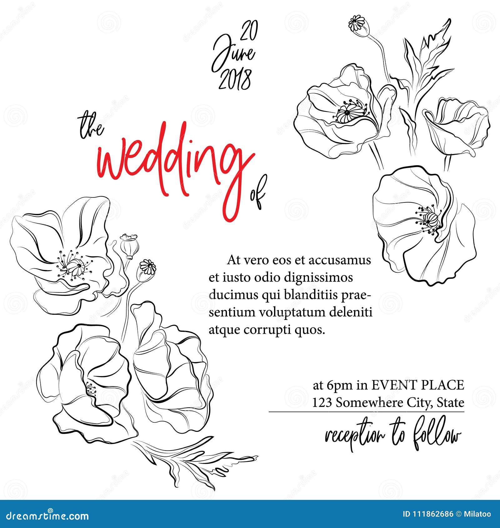 Wedding greeting card invitation modern holiday decoration with download wedding greeting card invitation modern holiday decoration with poppies flowers floral vintage template m4hsunfo