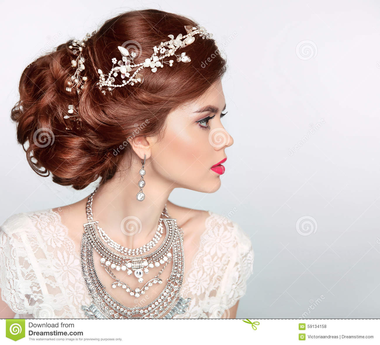 Wedding Hairstyle Beautiful Fashion Bride Girl Model Portrait
