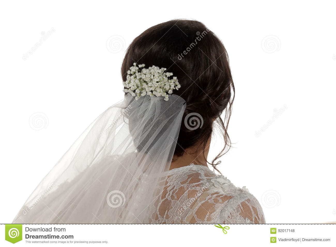 Wedding Hairstyle - Flowers And Veil Stock Photo - Image of beauty ...