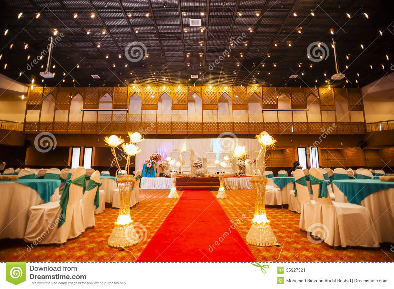 Wedding hall decoration stock image image of party for Hall decoration images