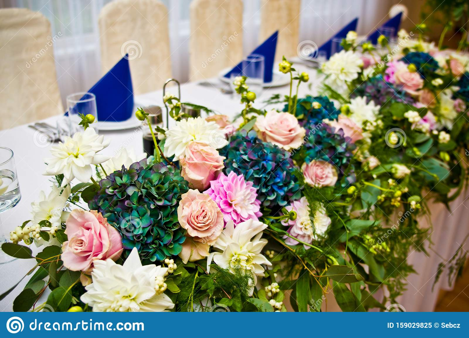 Wedding Hall Table Flowers Decoration Detail Stock Image Image Of Detail Decoration 159029825