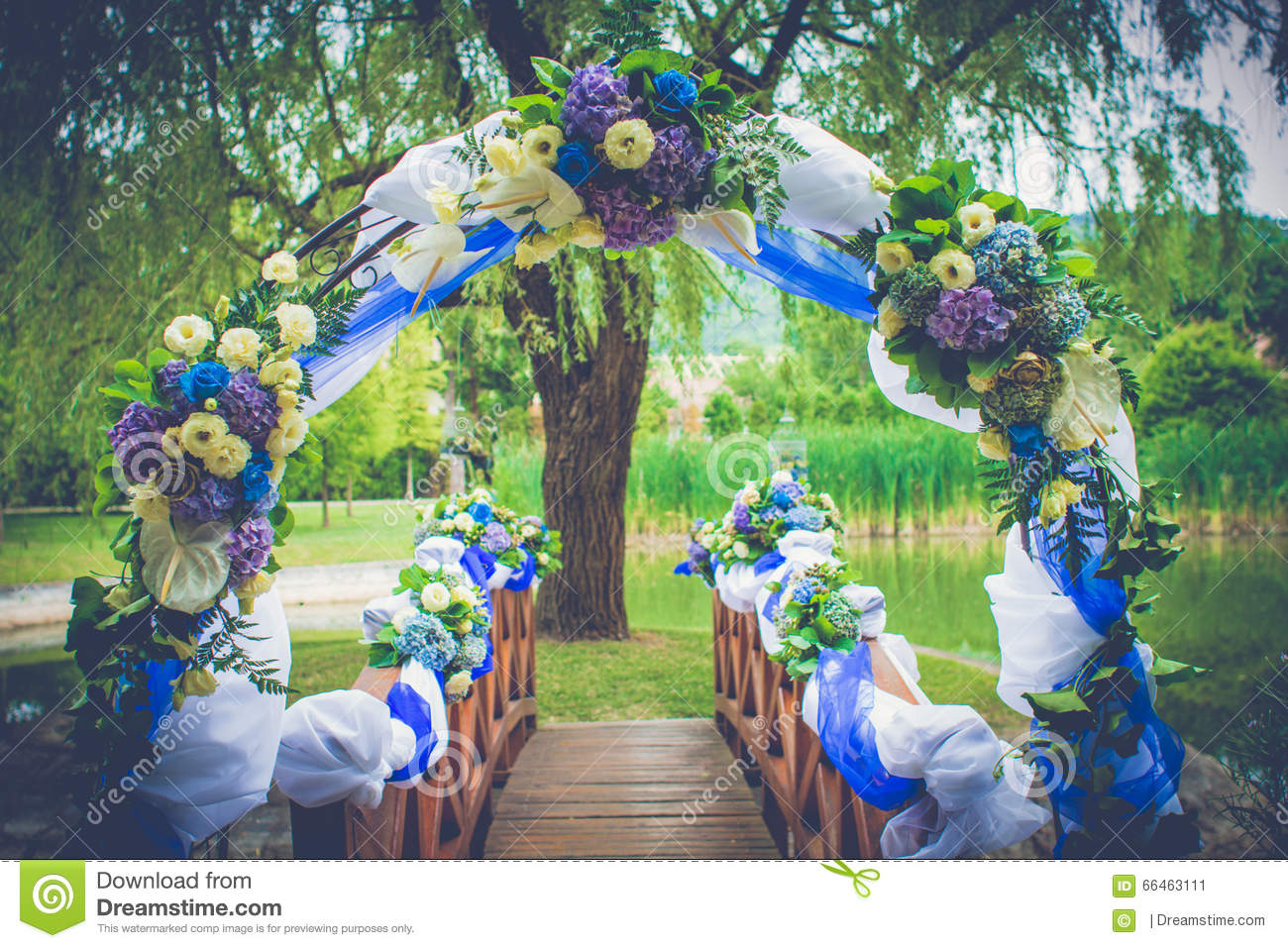 Wedding Happiness Gate Decoration Garden With Flowers Stock Image ...