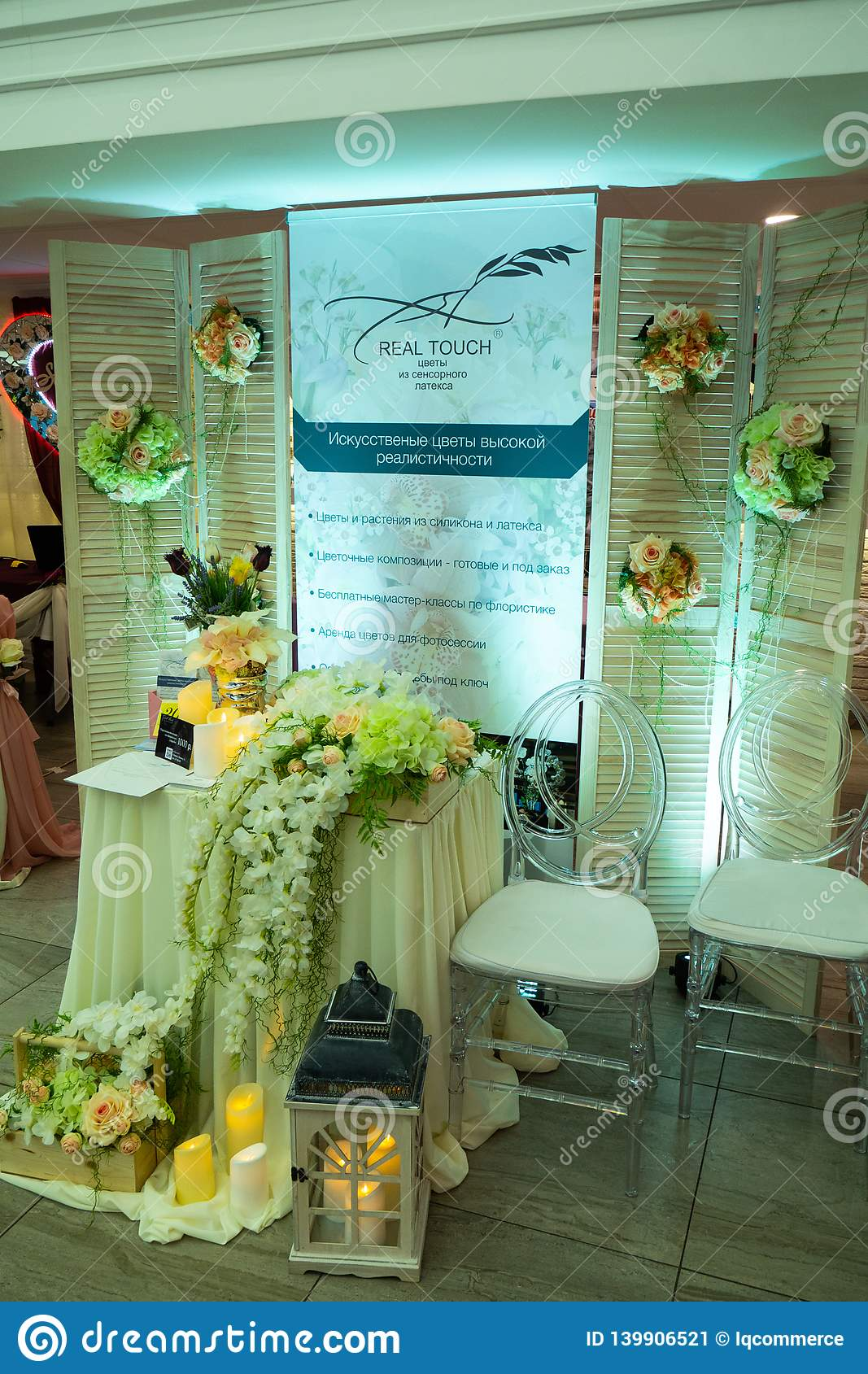 Nice artificial flowers decoration company stand