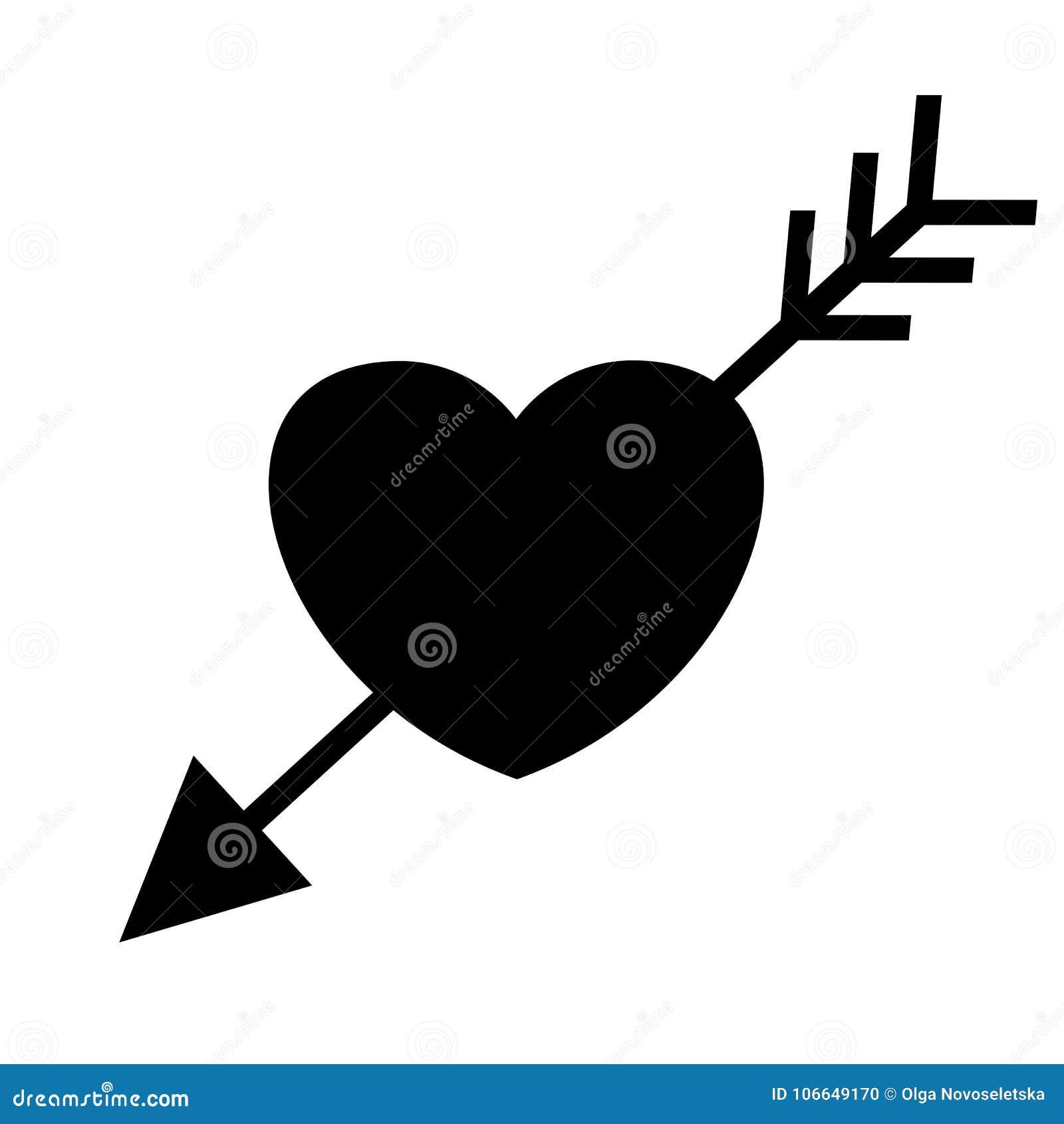 Wedding Heart With Arrow Black Icon Stock Vector Illustration Of