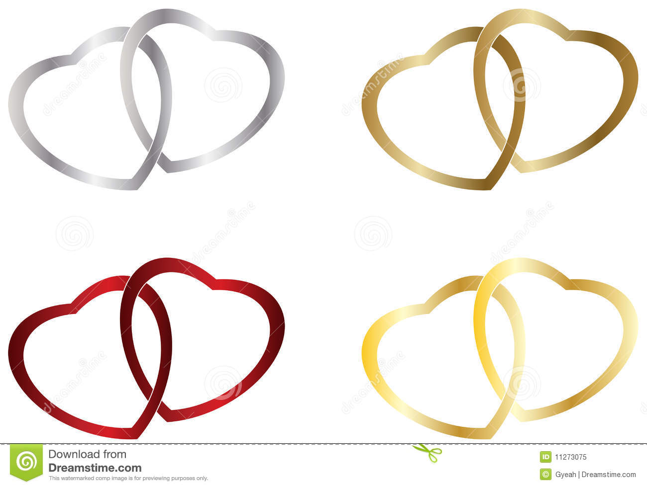 Wedding Heart Rings Stock Vector Image Of Silver