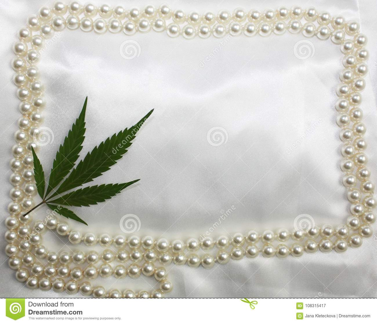 Wedding Hippie Original Bridal Satin White Background With Pearls Frame And Marijuana Pressed Leaf In Corner Invitation Card Fre Stock Image Image Of Delicate Beads 108315417