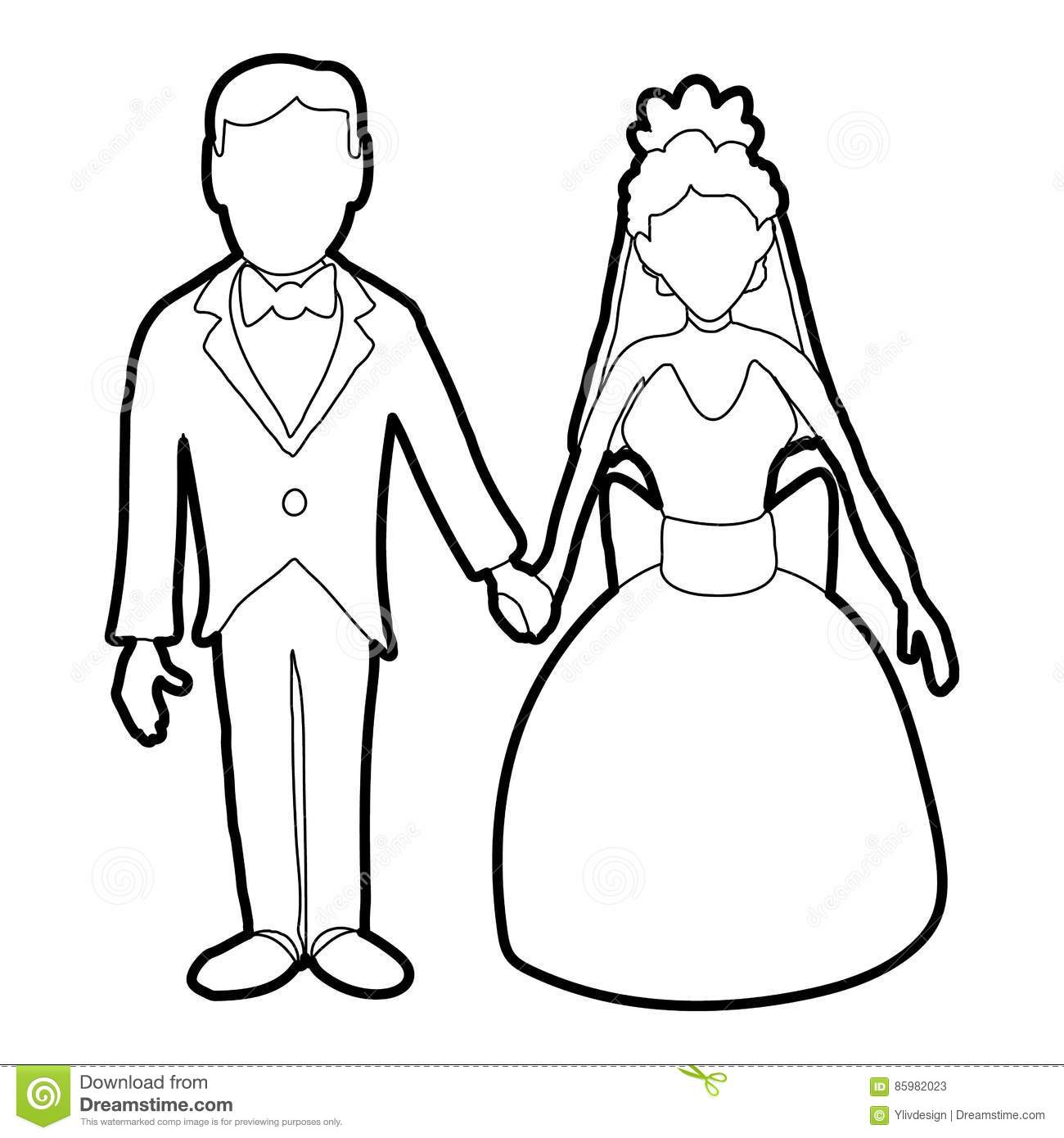Wedding Outline: Wedding Icon, Outline Style Stock Vector