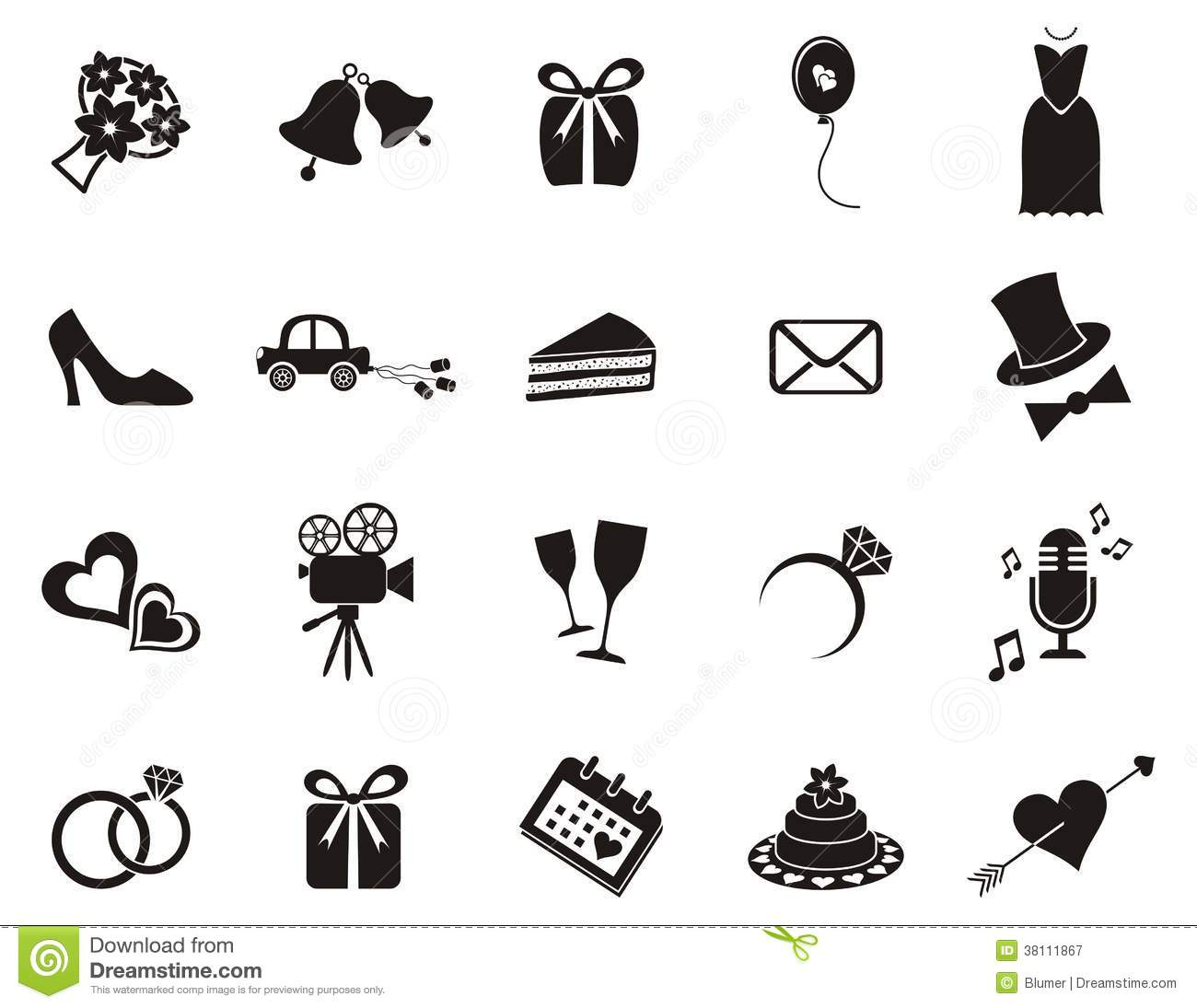 Wedding Icons Stock Vector Illustration Of Just Element 38111867