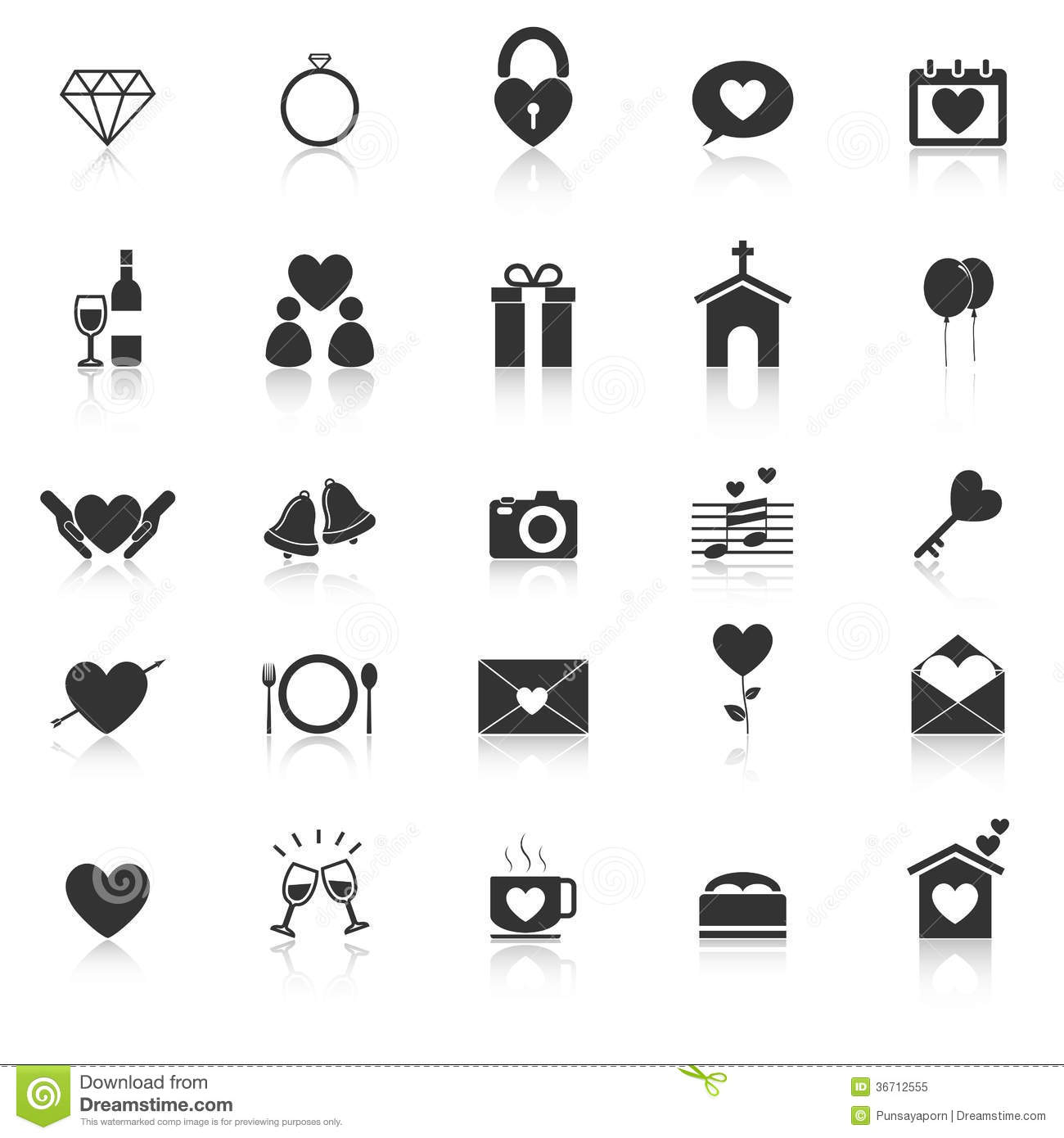 Wedding Icons With Reflect On White Background Royalty