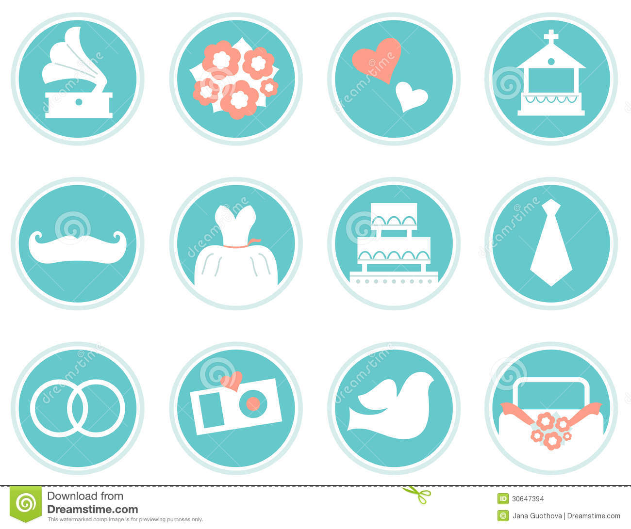 Wedding Icons In Retro Style Stock Vector Illustration 30647394
