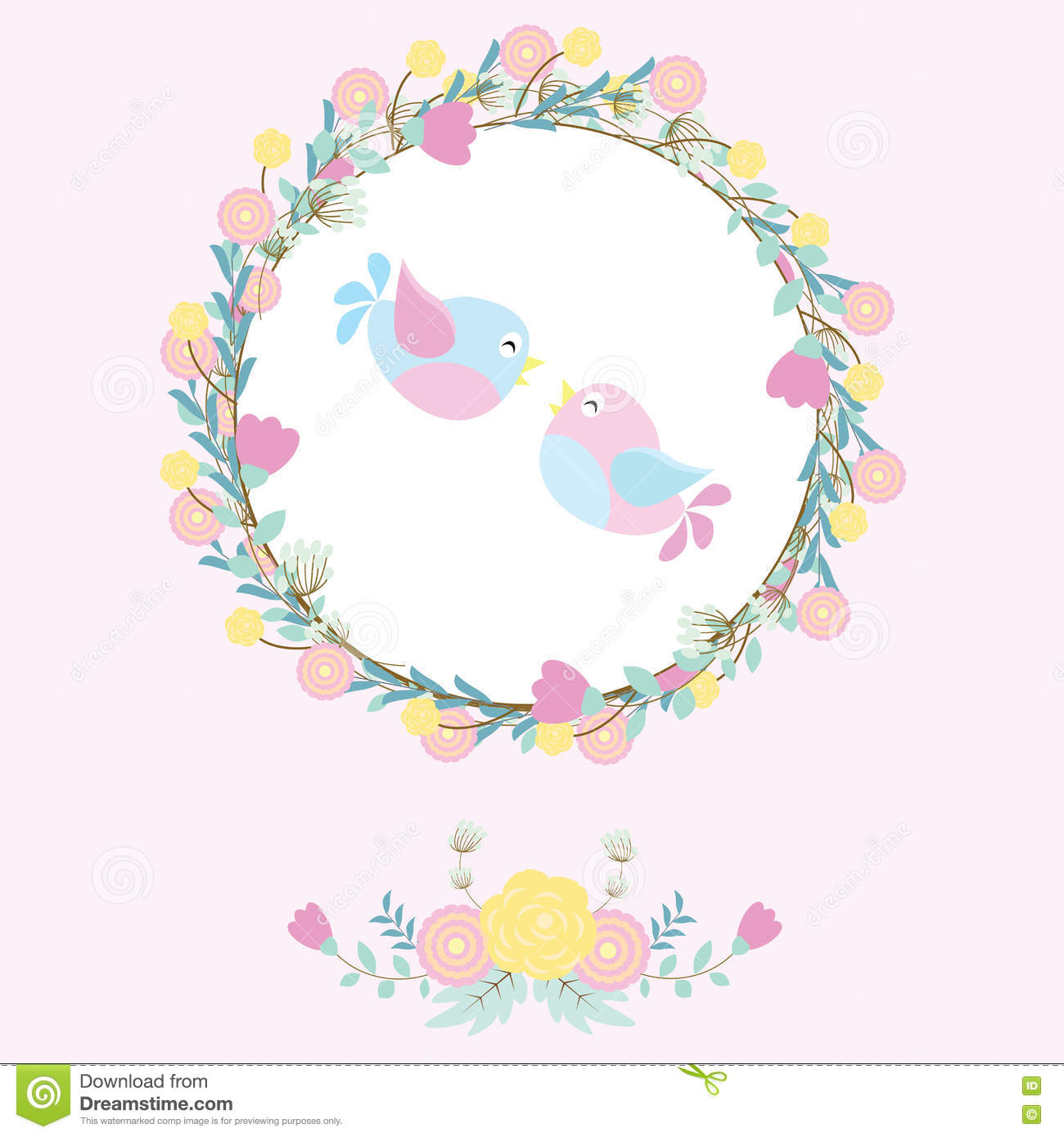 Wedding Illustration With Cute Birds On Flowers Wreath Suitable For ...