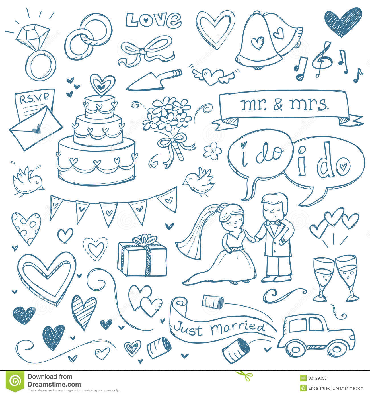 Wedding Doodles Royalty Free Stock Photo Image 30129055