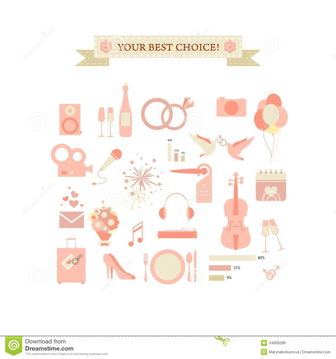 Wedding infographics stock vector. Illustration of handle - 44900286