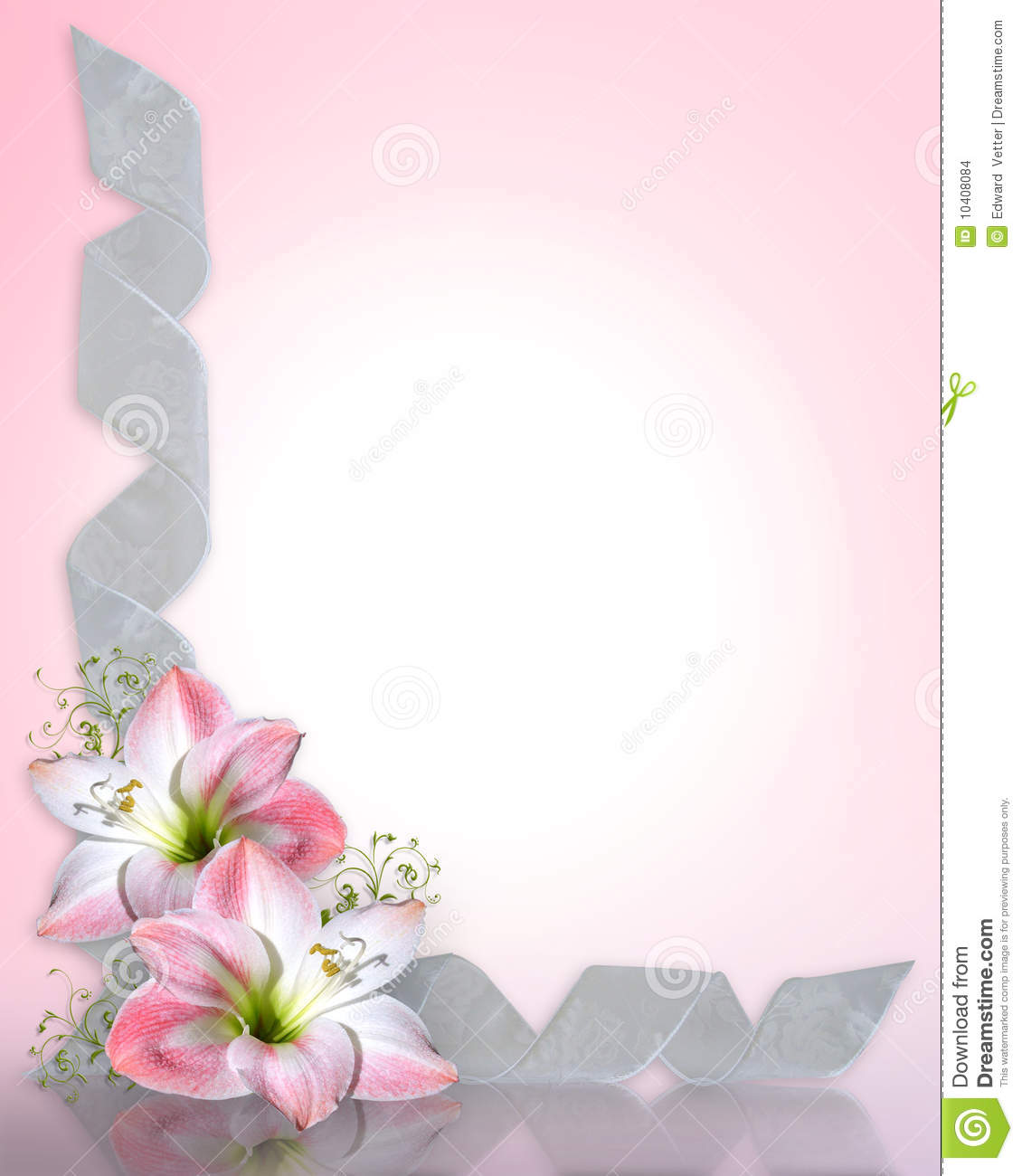 Wedding invitation Amaryllis pink Border