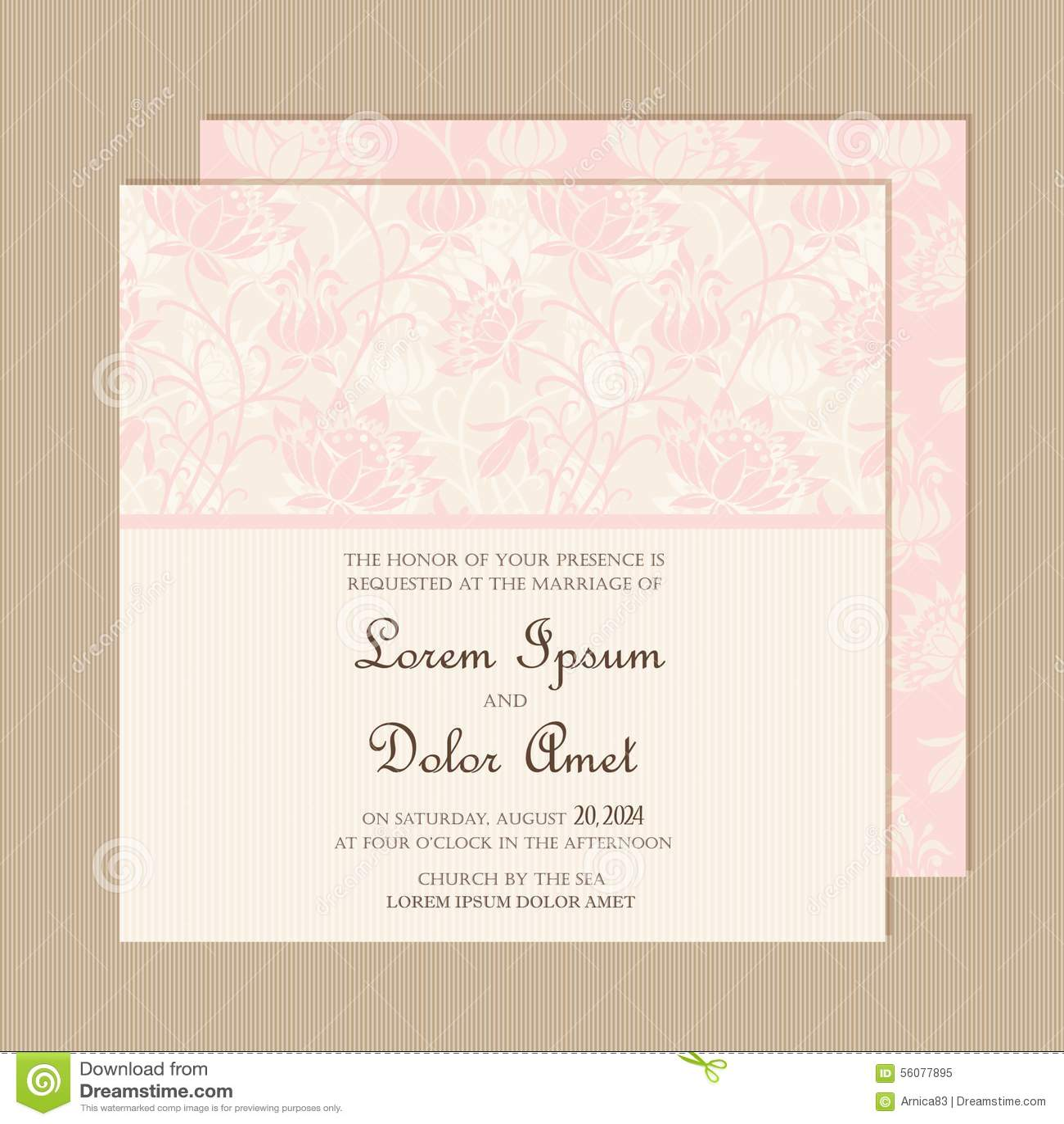wedding invitation or announcement card stock vector illustration