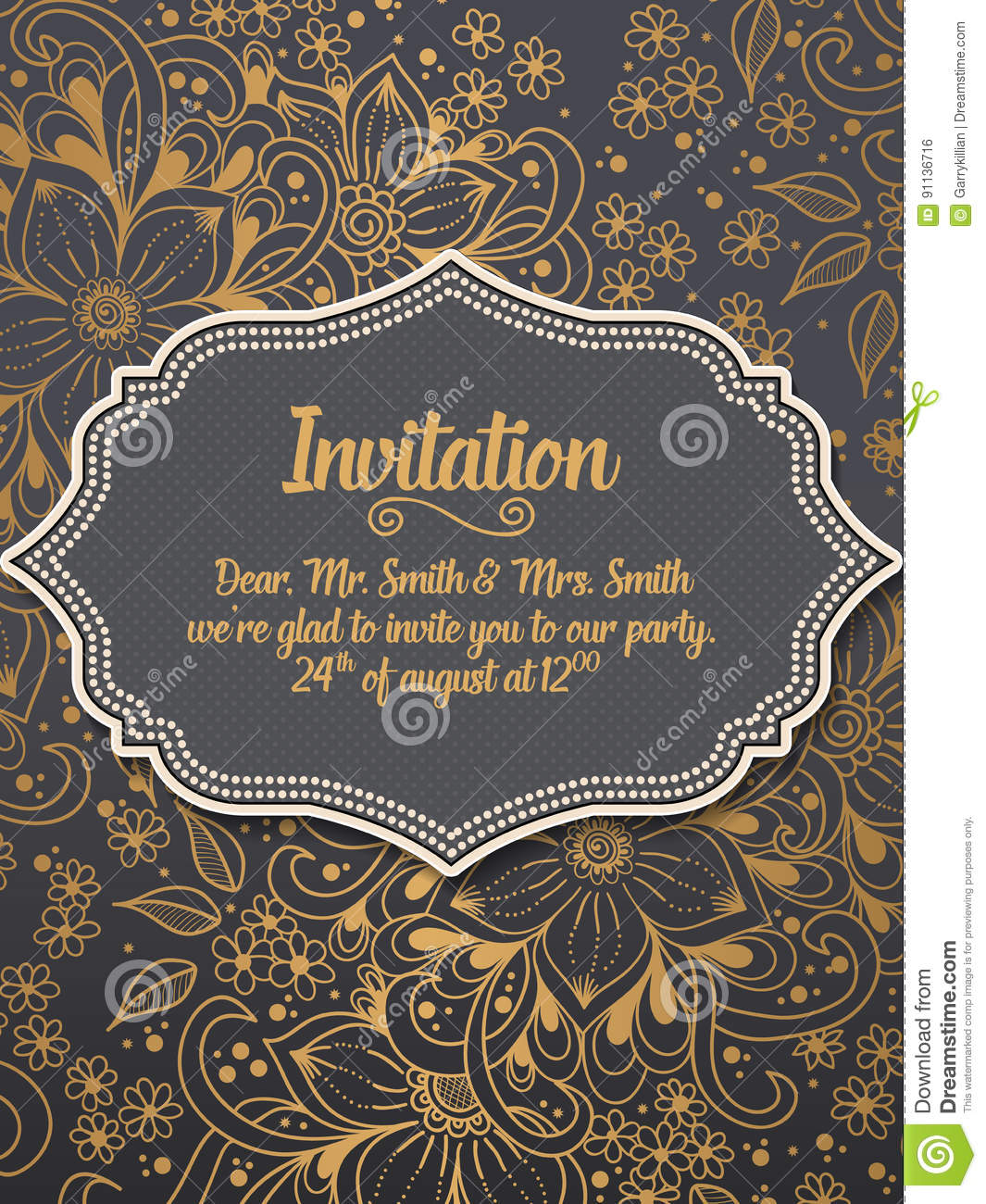 Wedding invitation and announcement card with ornament in Arabian style. Arabesque pattern.