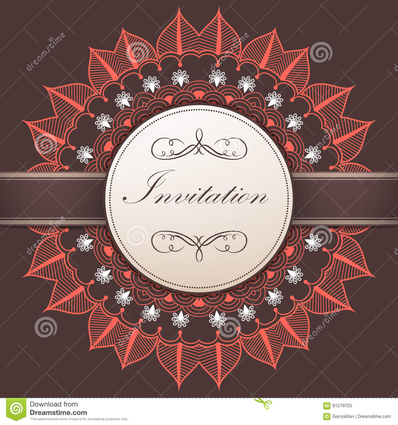 Wedding Invitation And Announcement Card With Ornamental Round Lace ...