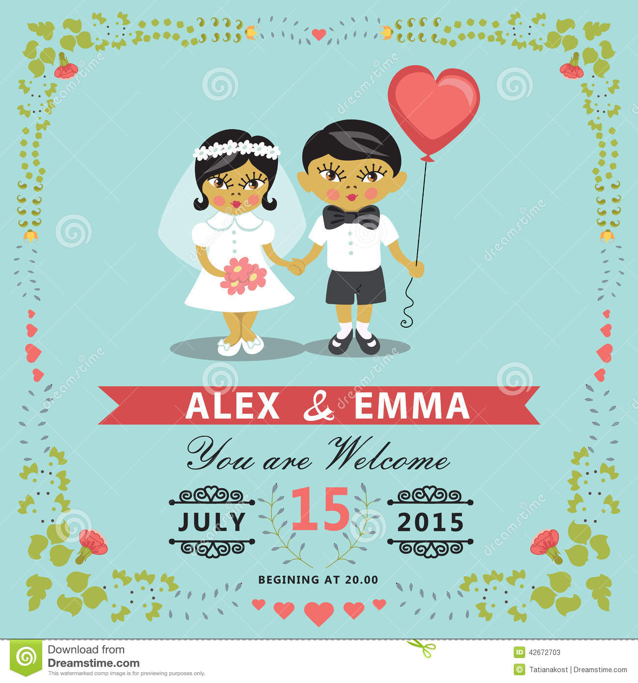 Wedding Invitation With Asian Baby Bride Groom Floral Frame Eps