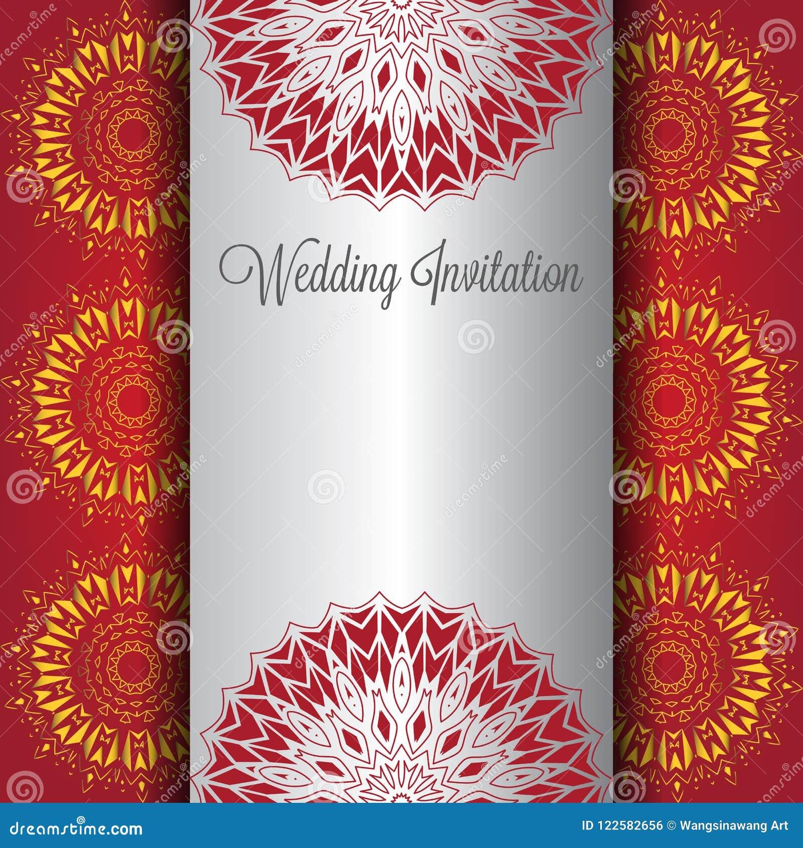 Gold Wedding Invitation Background With Mandala Ornament. Stock ...