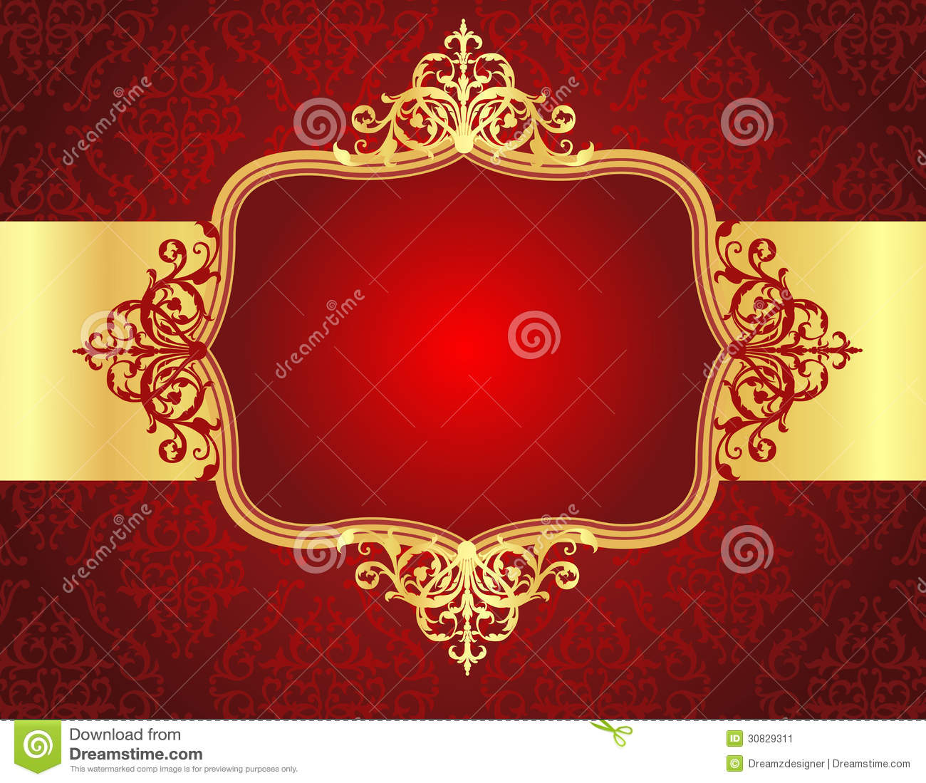 Wedding Invitation Background With Red Damask Patt Illustration ...