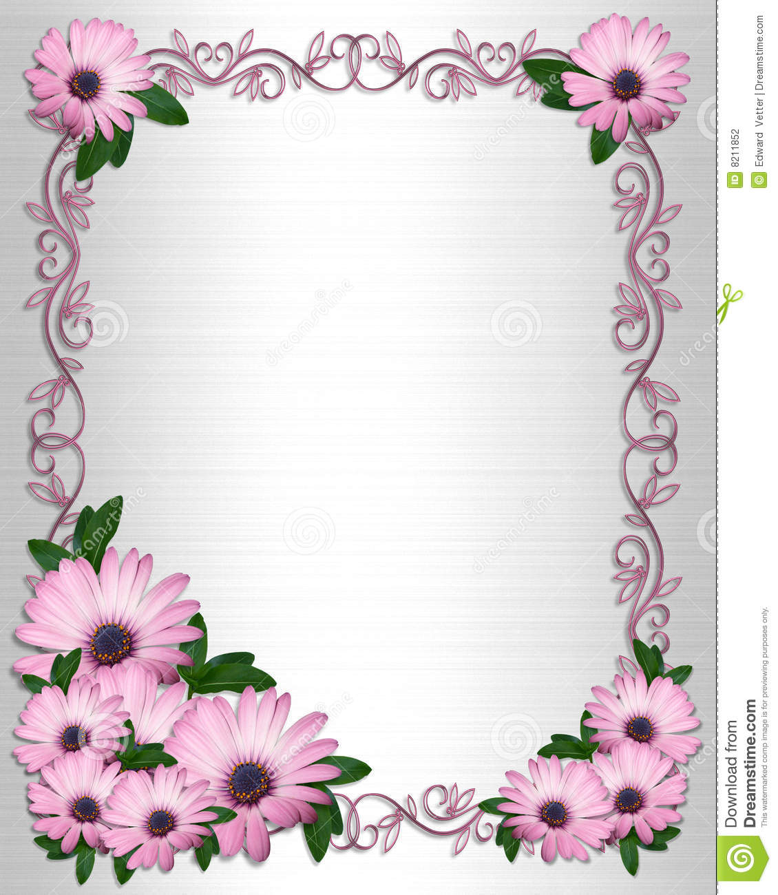 Wedding Invitation Backgrounpurple Daisies Border Stock Illustration