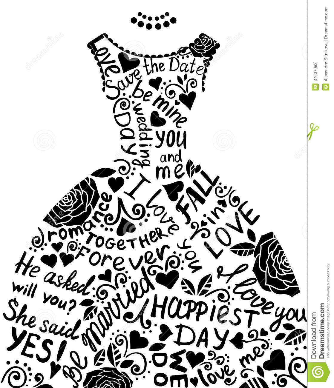 Wedding Gown Clip Art: Wedding Invitation With Beautiful Elegant Wedding Dress