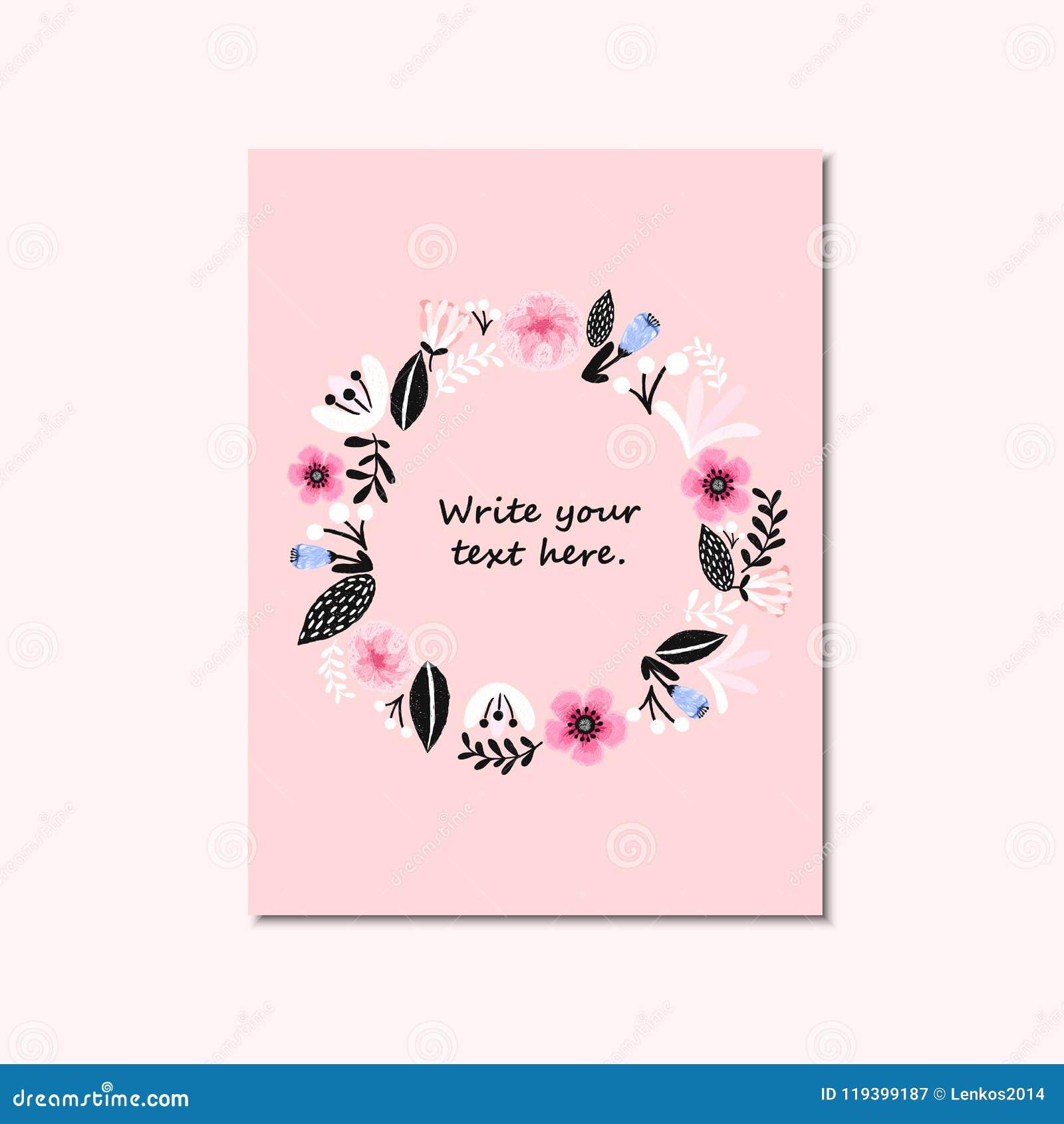 Wedding Invitation Or Birthday Card Floral Invite Modern