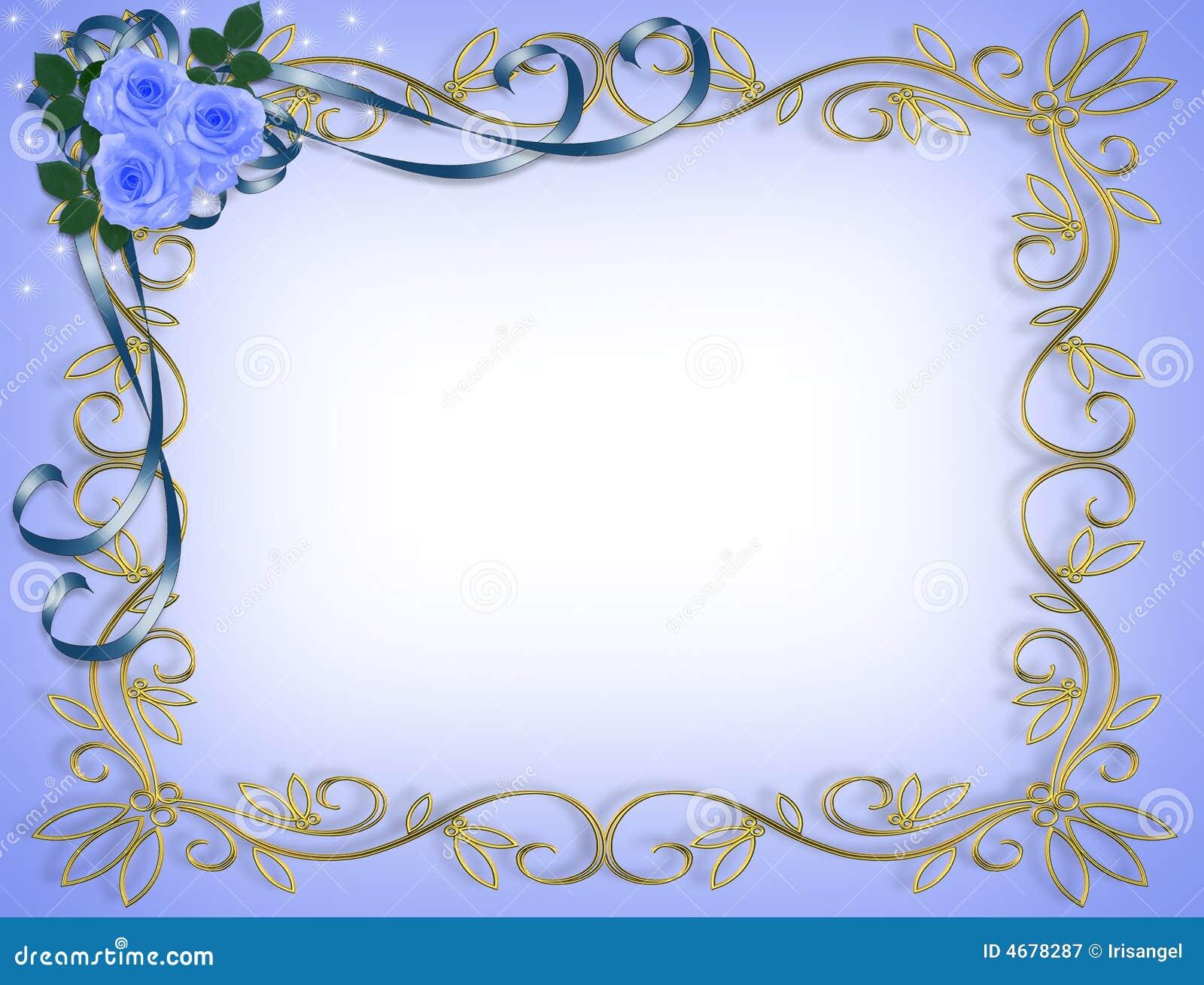 Blue Wedding Invitation Background: Wedding Invitation Blue Roses Royalty Free Stock
