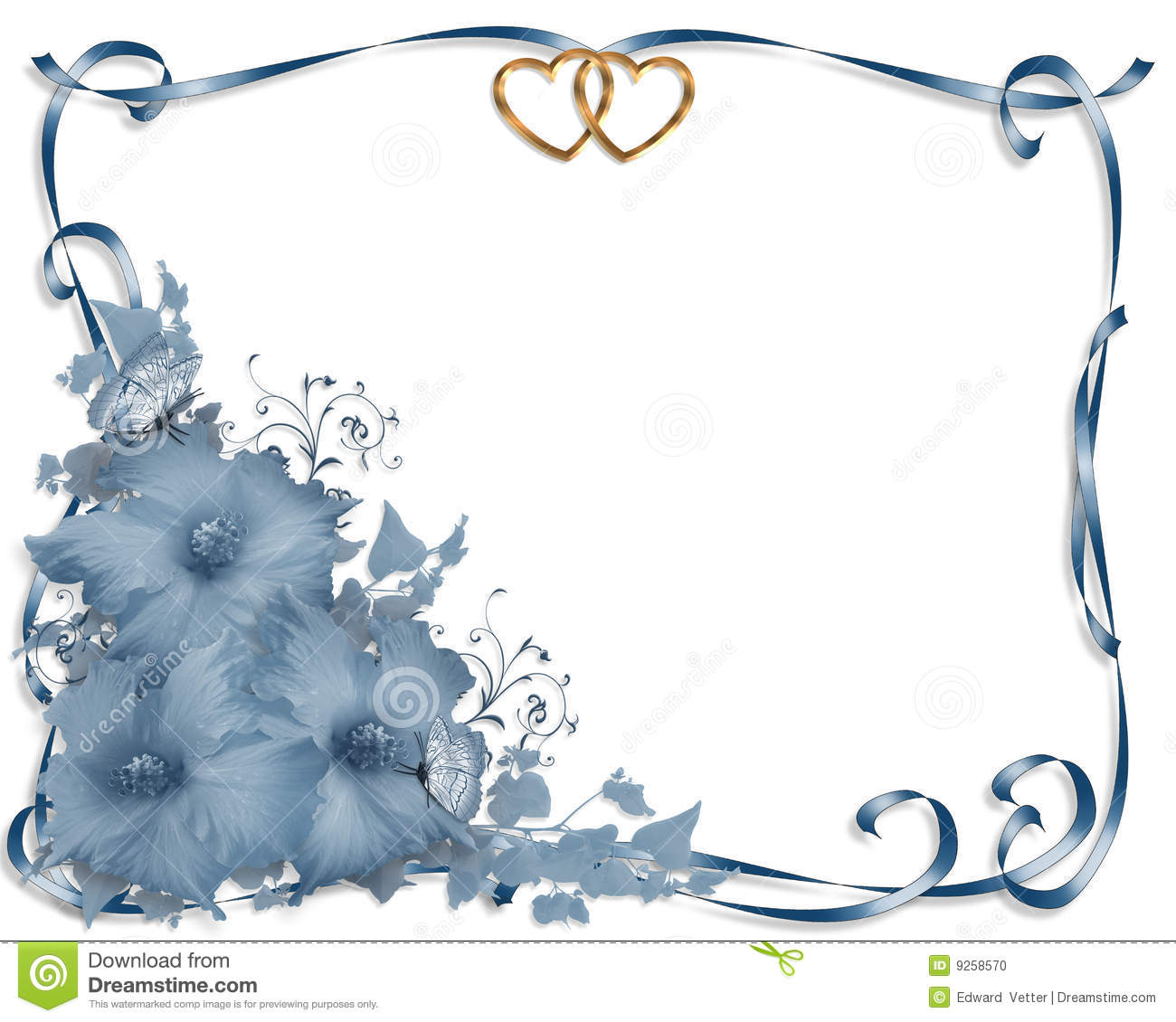Wedding Invitation Border Blue Hibiscus Stock Illustration