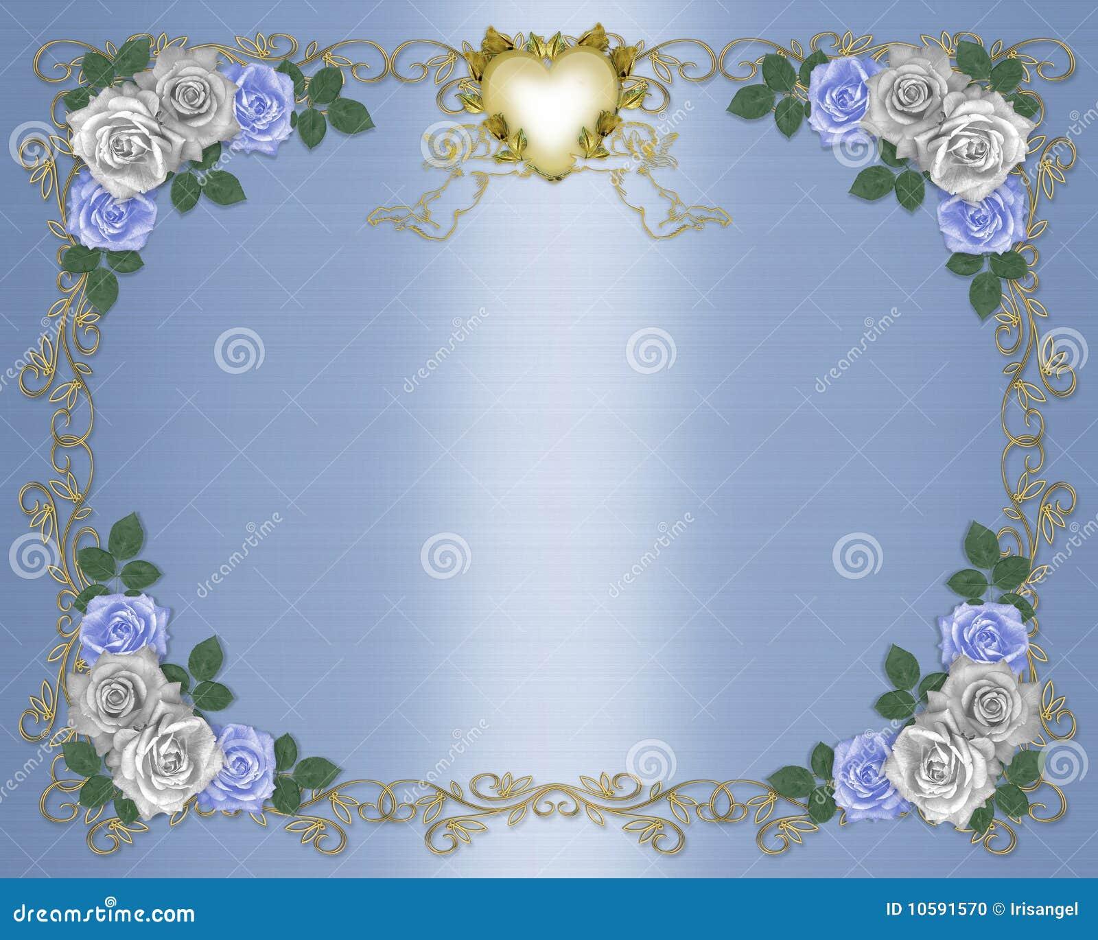 Wedding Invitation Border Blue Roses Stock Illustration
