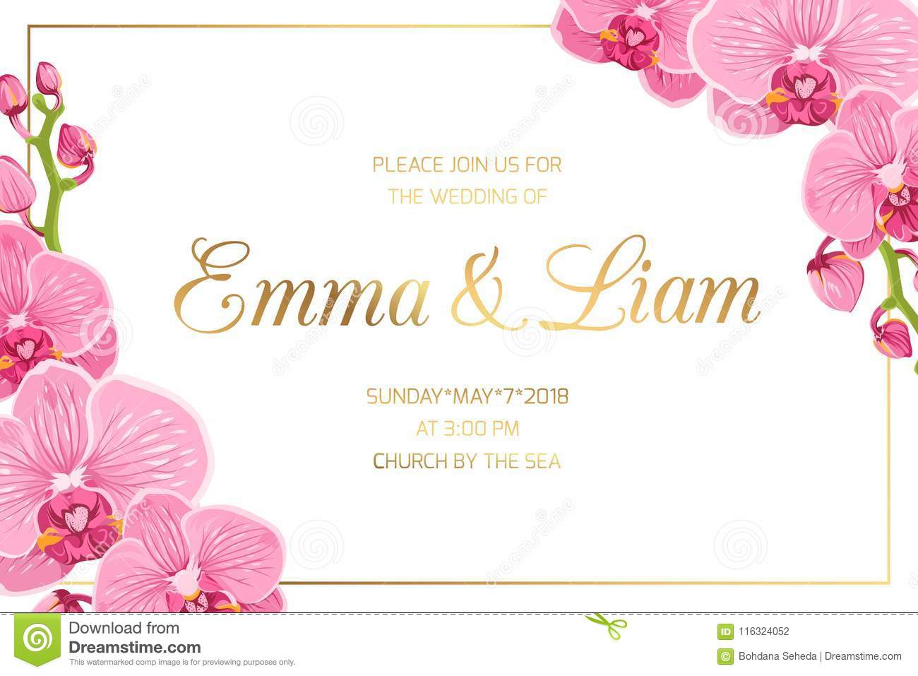 Wedding Invitation Border Frame Corner Pink Orchid Stock
