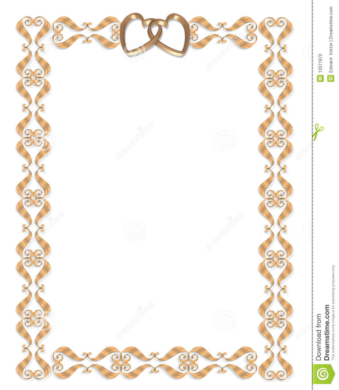 Wedding Invitation Border Gold Hearts Stock Illustration