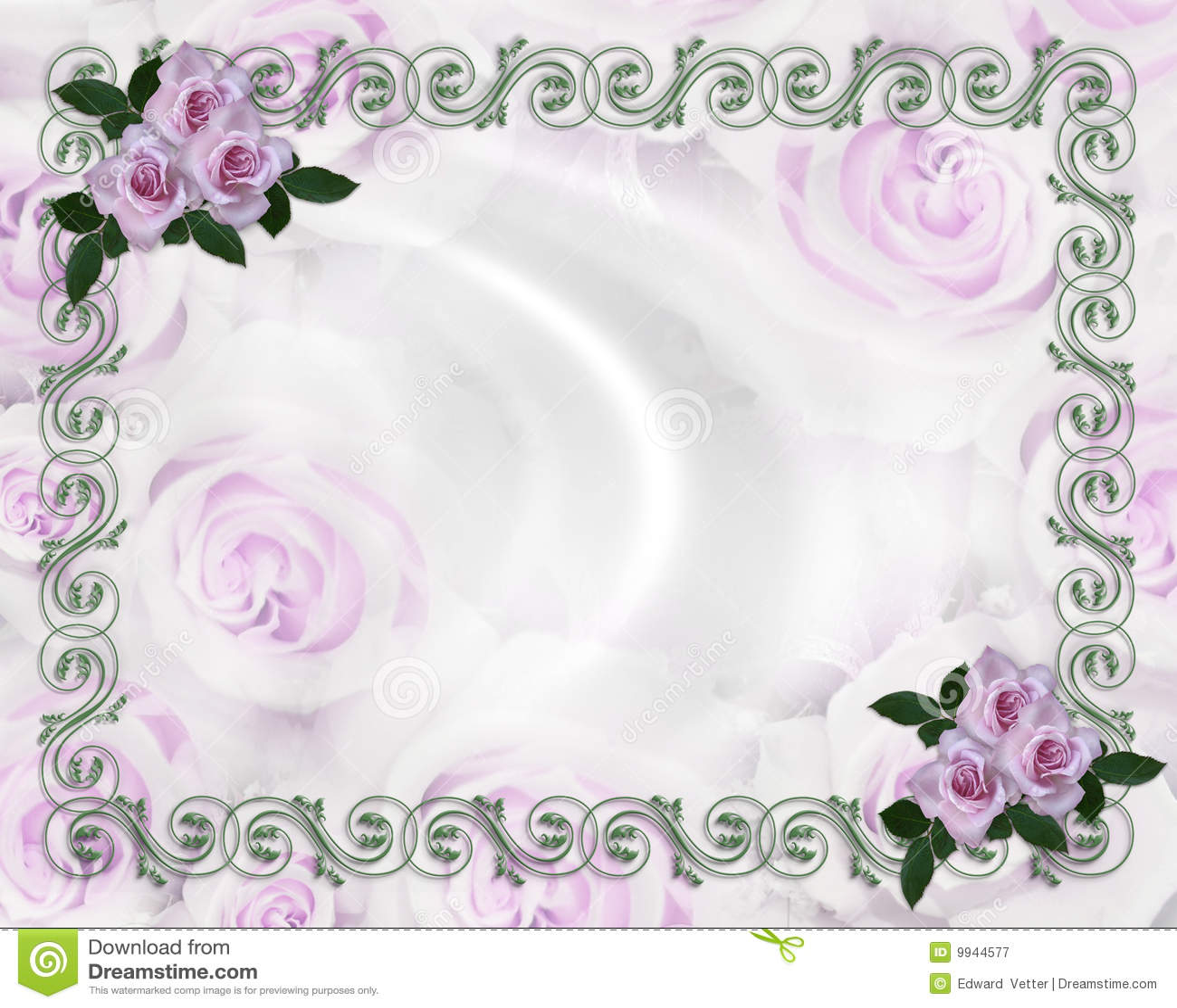 Wedding Invitation Border Lavender Roses Floral Royalty ...