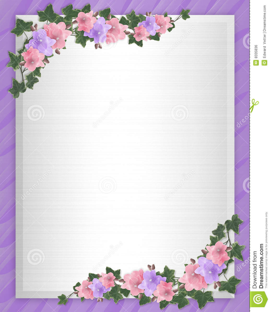 Wedding Invite Borders: Wedding Invitation Border Orchids Ivy Stock Illustration