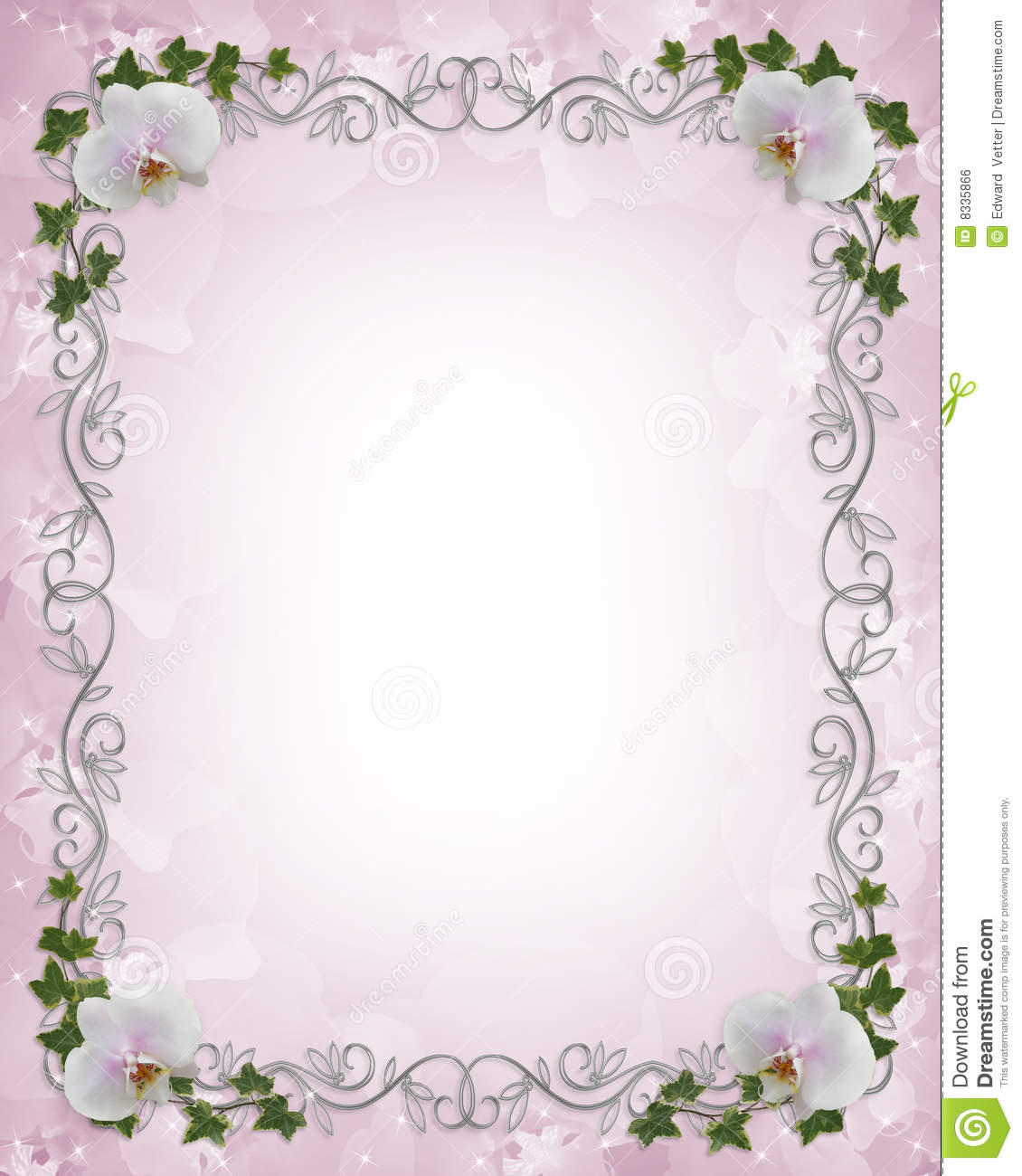 Wedding Invitation Border Orchids Ivy Stock Illustration