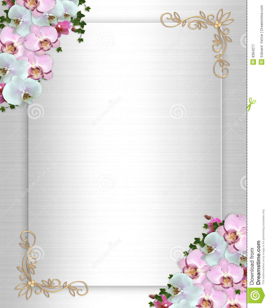 Wedding Invite Borders: Wedding Invitation Border Orchids Ivy Royalty Free Stock