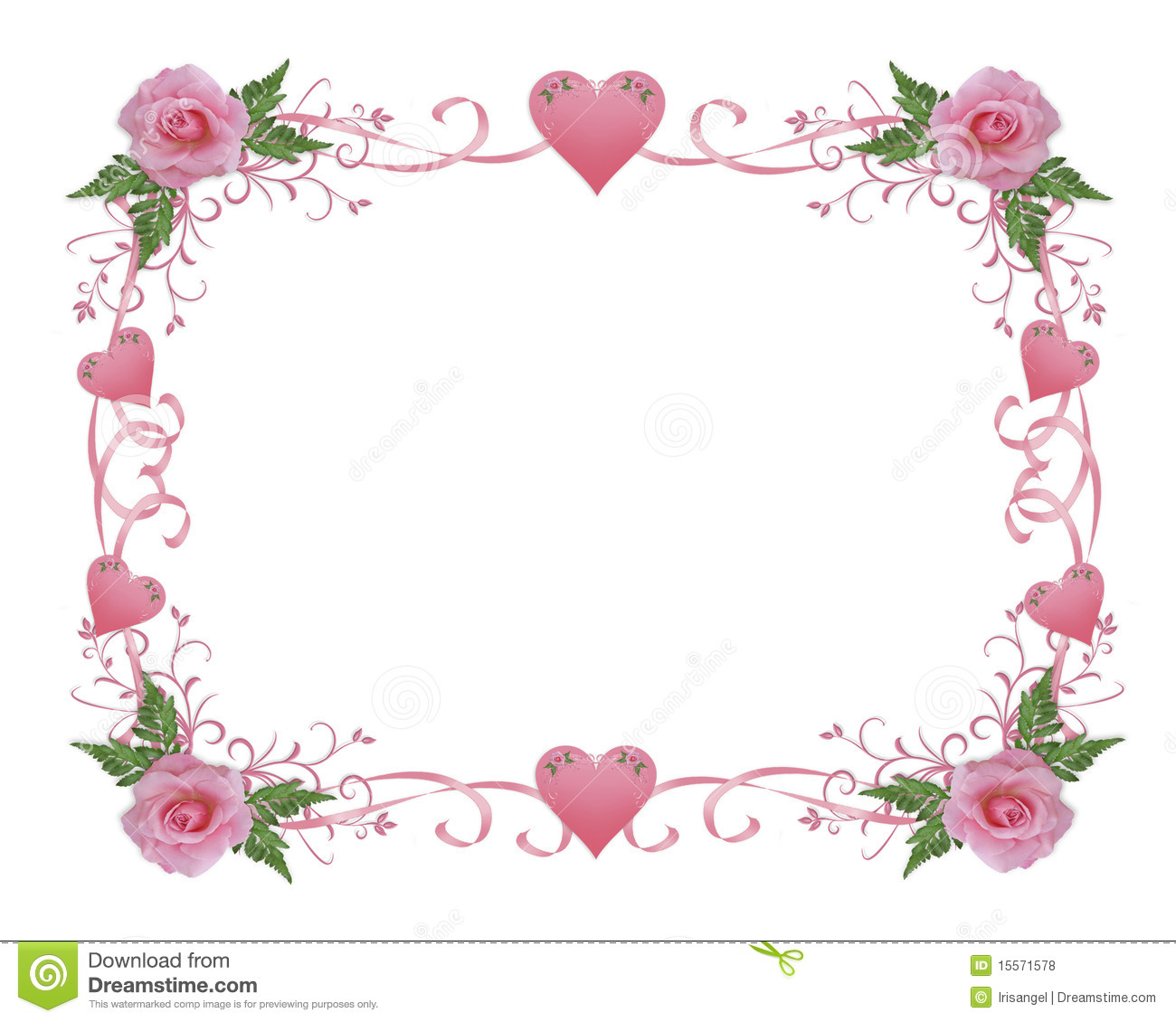 wedding invitation border pink rose stock illustration