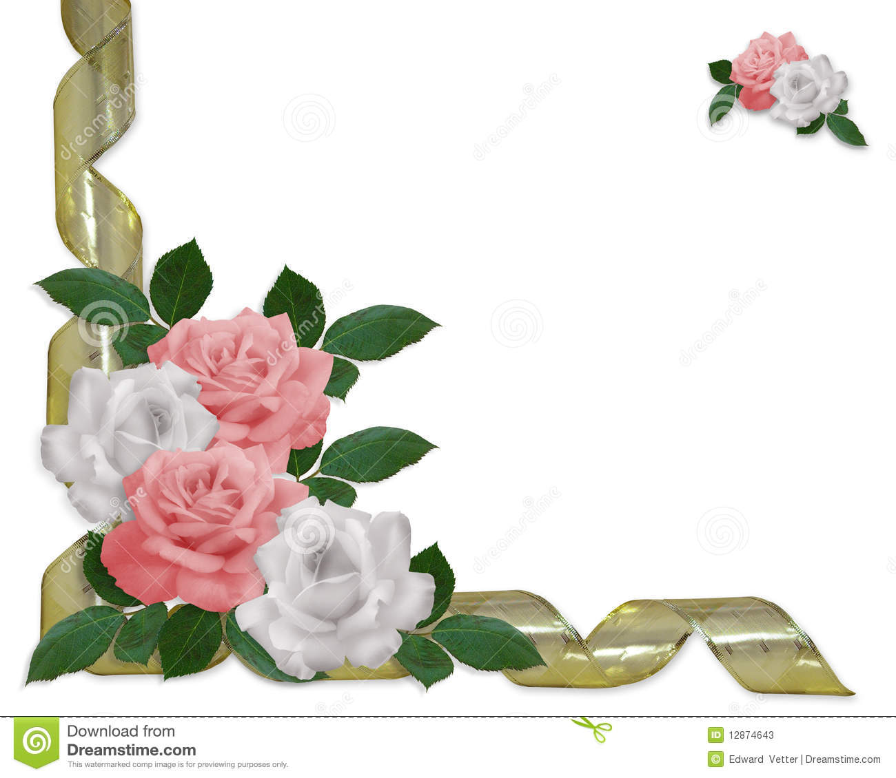 ... wedding invitation background, border or frame with gold ribbons, copy