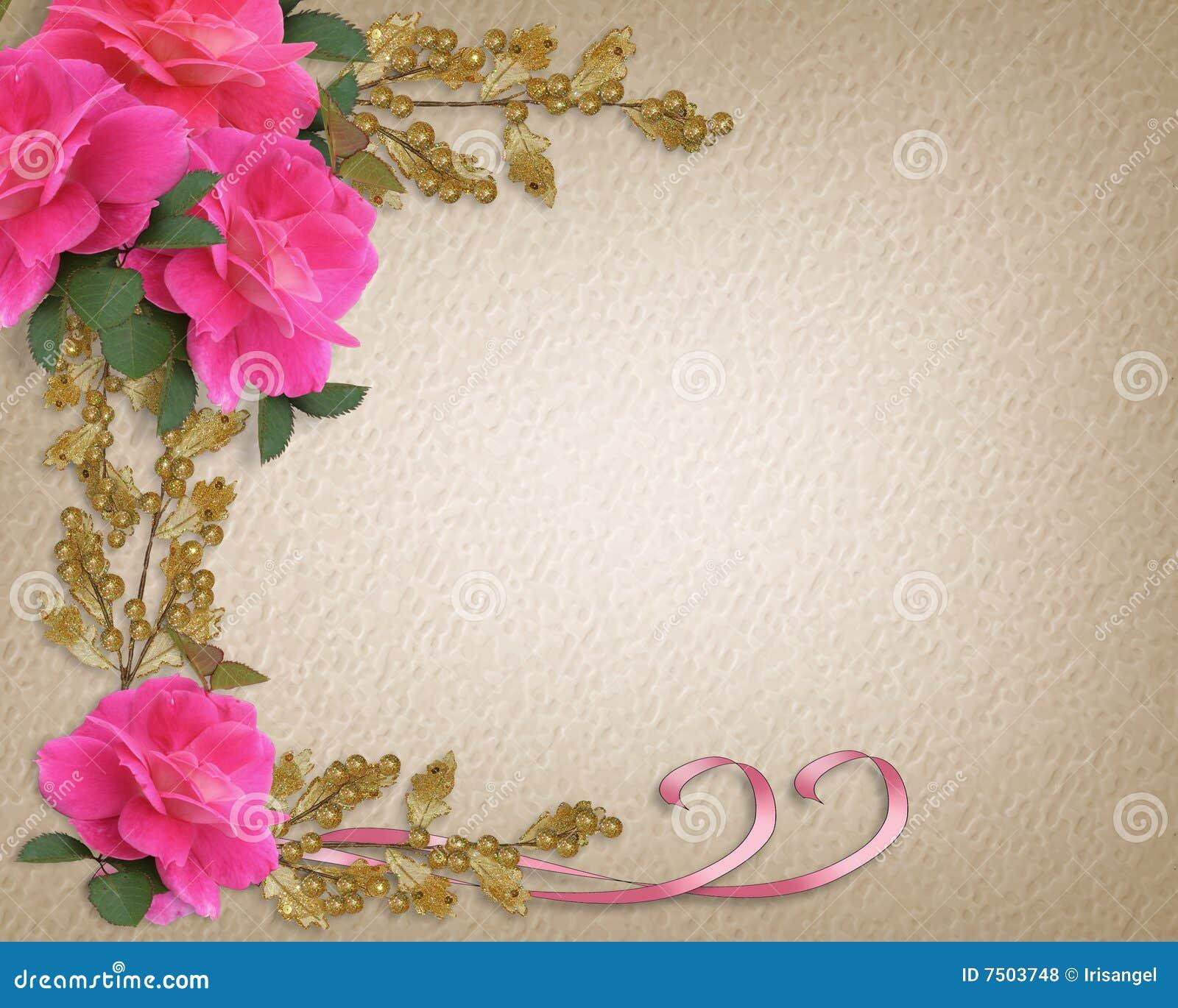 Wedding Invitation Border Pink Roses