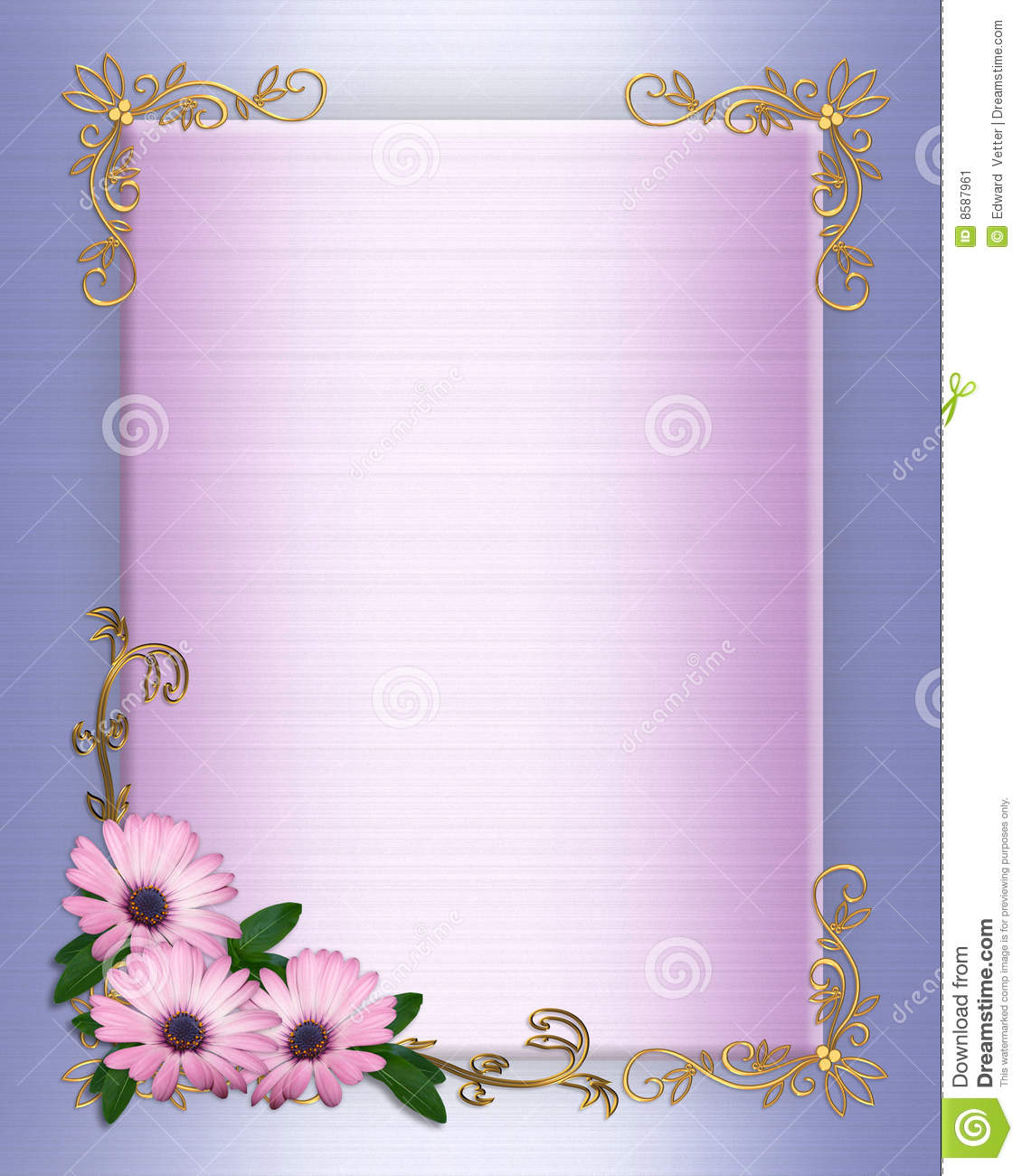 Wedding Invitation Border Purple Flowers Stock