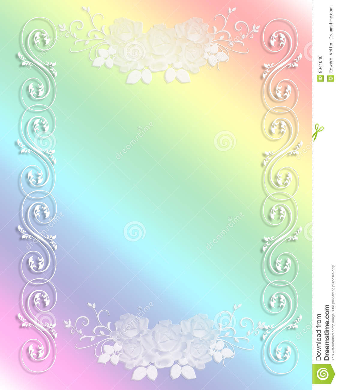 wedding invitation border rainbow lace stock photo