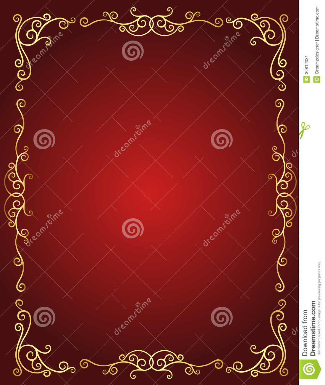 Wedding Invitation Border In Red And Gold Stock Vector