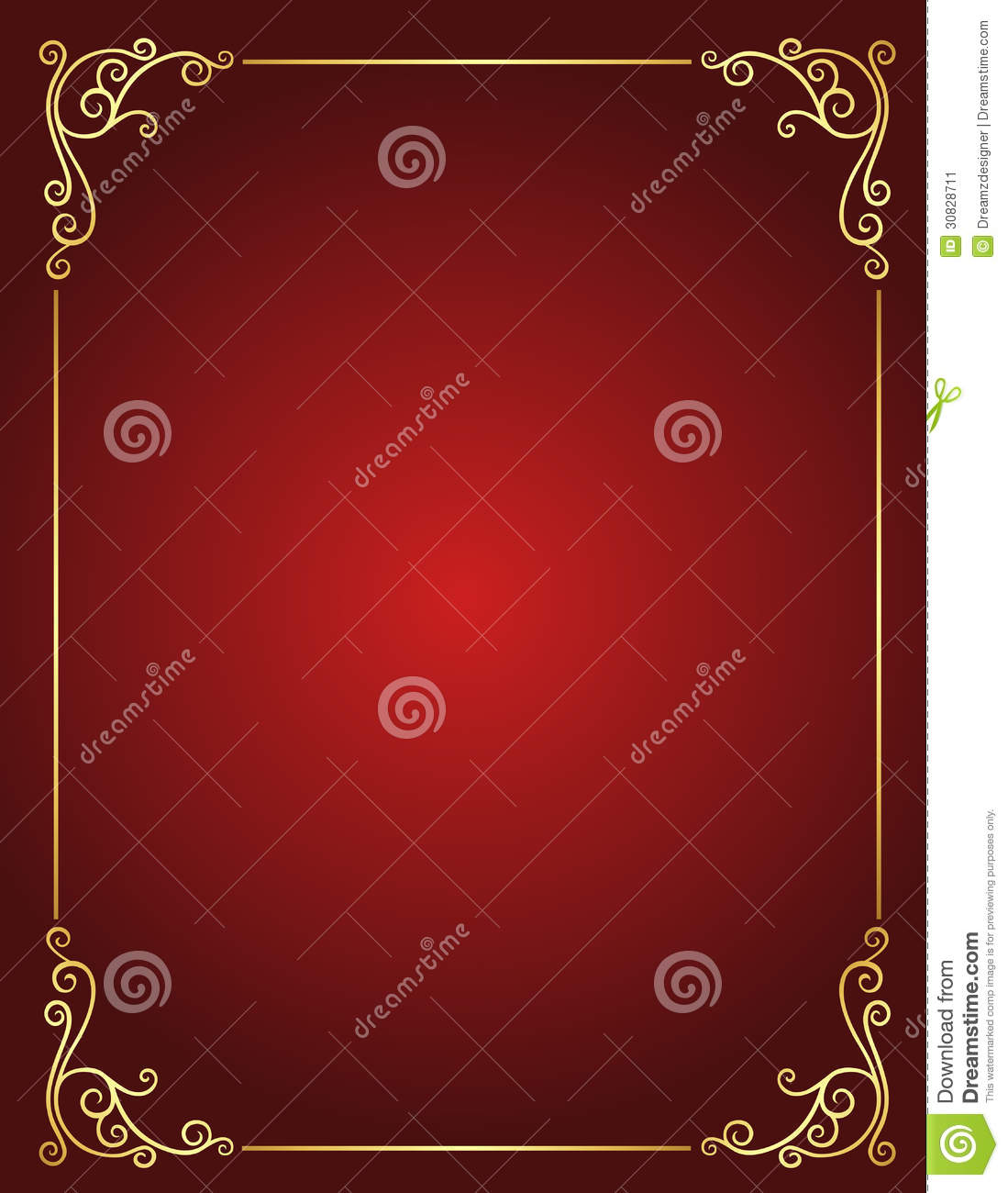 Wedding Invitation Border In Red And Gold Stock Vector ...