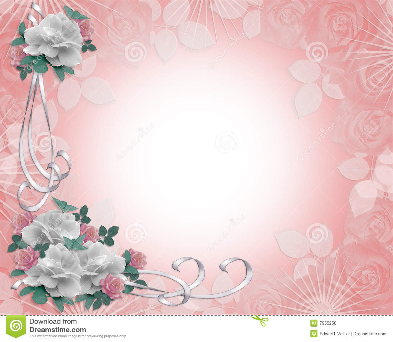 Wedding Invitation Border Roses Stock Illustration Illustration Of