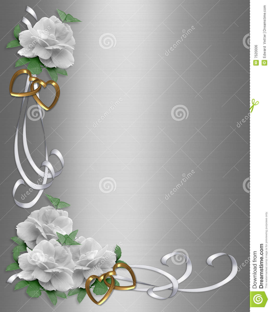 Wedding Invitation Border White Roses Stock Illustration - Illustration of greeting, flowers ...