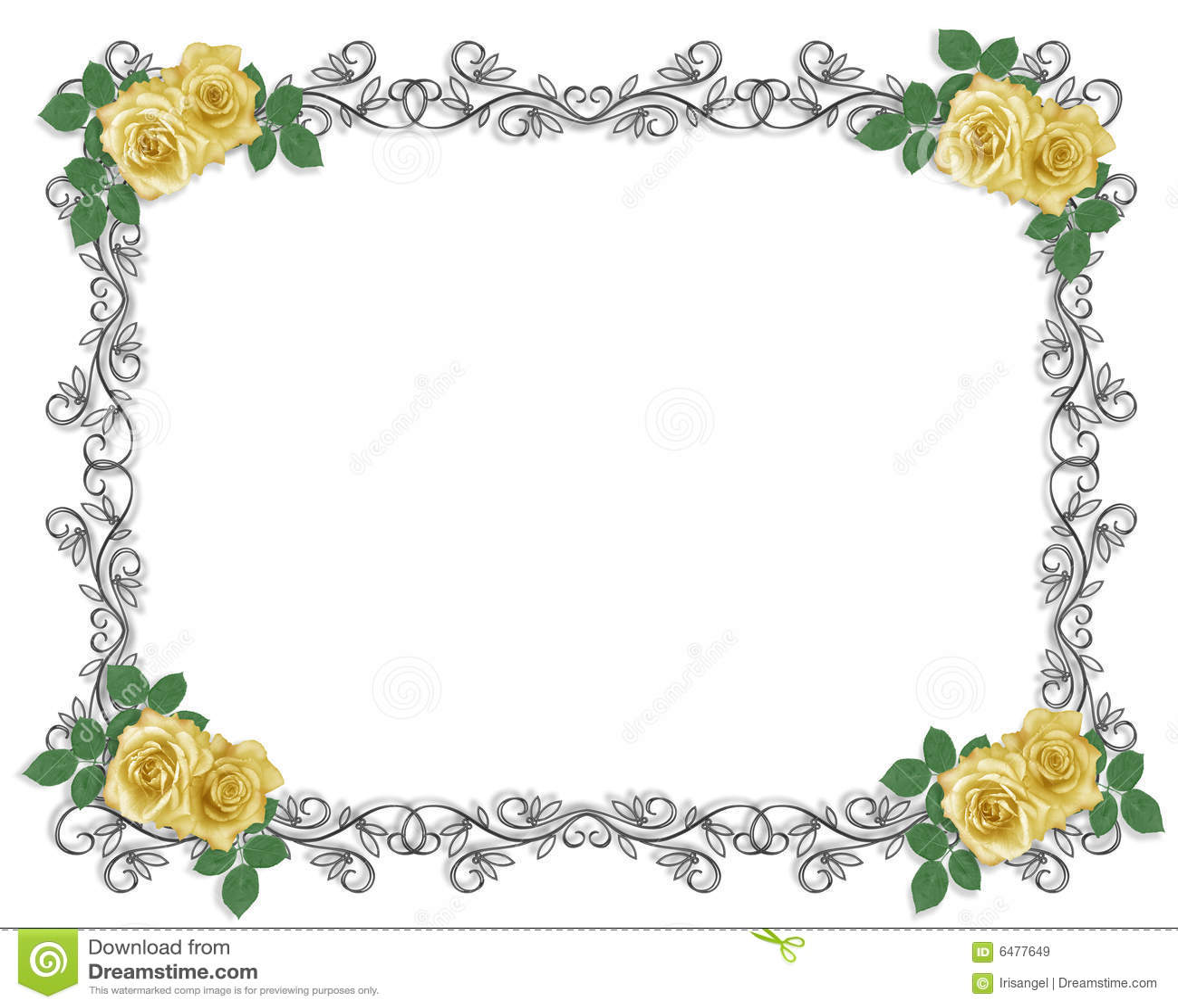 Wedding Invitation Border Yellow Rose Royalty Free Stock
